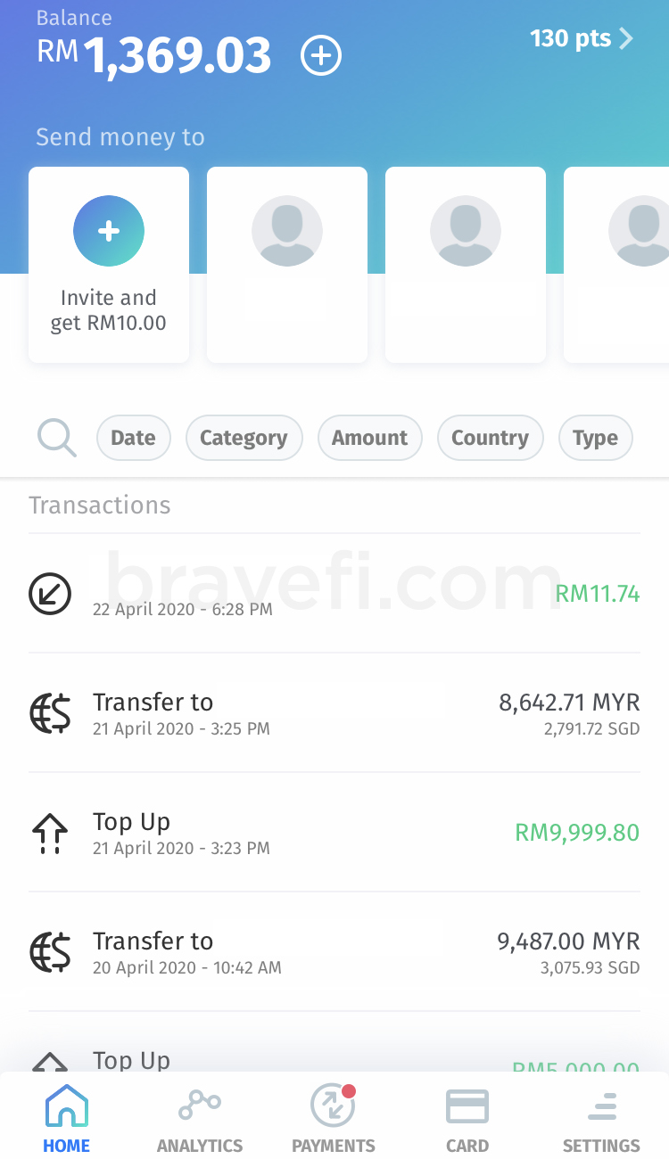 Easy to navigate, check past transaction on BigPay app.